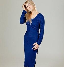 June & Dane Nursing & Maternity Wrap Dress in Twilight Blue