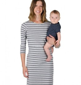 Momzelle Momzelle Grey stripe Charlie dress