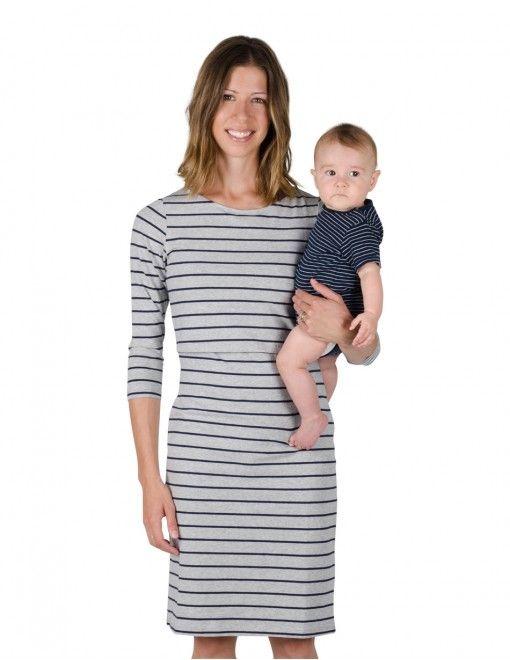 Momzelle Charlie nursing & maternity dress in Grey stripe