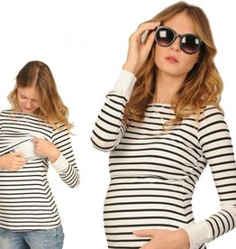 Peek-A-Boo Striped nursing top with cuffs
