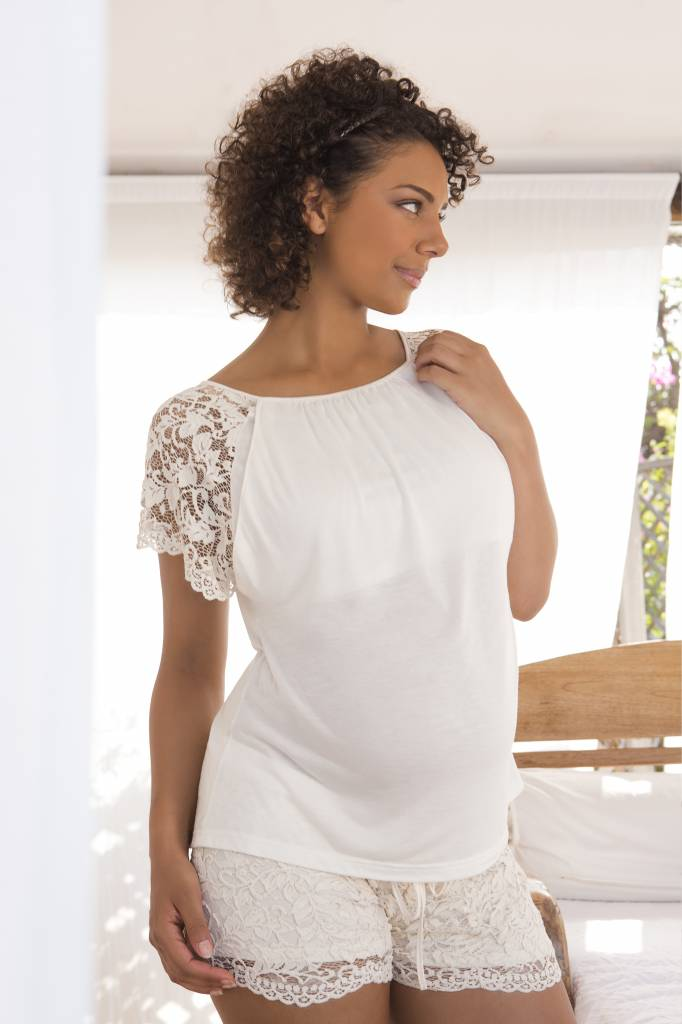 Cache Coeur Sofia lace short & tee pyjama Pearl