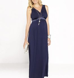 Blooming Angel Long Evening Dress in Navy
