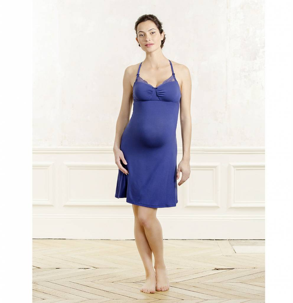 Cache coeur serenity nursing maternity nightdress in royal blue ombrellifo Image collections