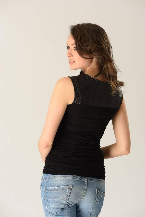 Peek-A-Boo Peek-a-boo Sleeveless leatherette top