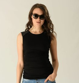 Sleeveless leatherette nursing top