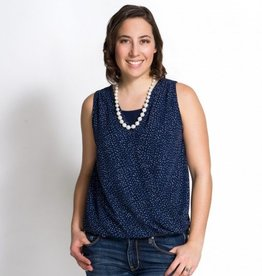 Momzelle Isabelle nursing top in Navy Dot