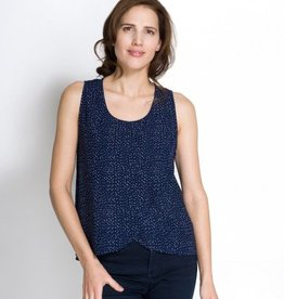 Momzelle Maggie nursing top in Navy Dot