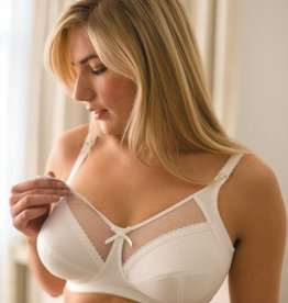 Charlotte dotted mesh full cup bra White E to Q cup