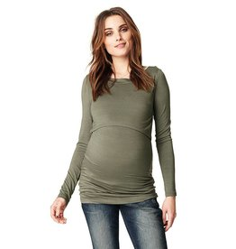 Hanna long sleeve nursing top in Army