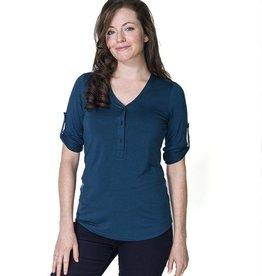 Sadie nursing blouse in Steel Blue