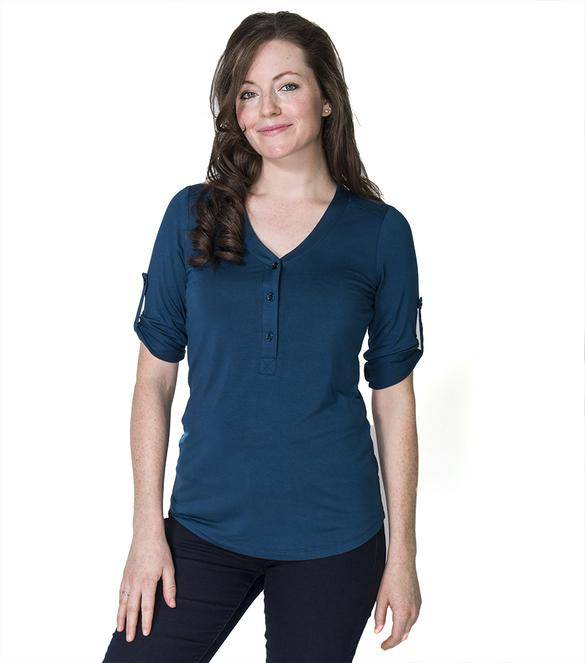 Momzelle Sadie nursing blouse in Steel Blue