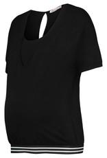 Queen Mum Striped banded nursing top in Black