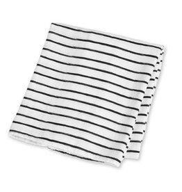 Muslin blanket - Black Messy Stripe