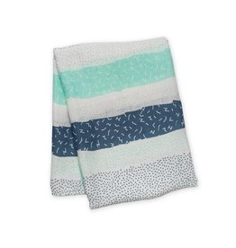 Muslin blanket - Grey Spotted Stripe