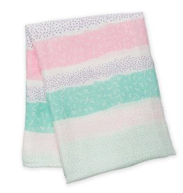Muslin blanket - Pink Spotted Stripe