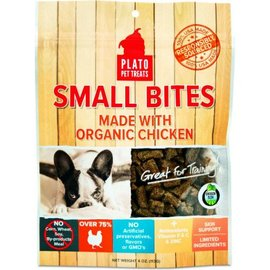 Plato Pet Treats Plato Small Bites Organic Chicken Dog Treats, 4-oz Bag