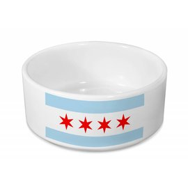 Sophisticated Pup Sophisticated Pup Chicago Flag Ceramic Dog Bowl