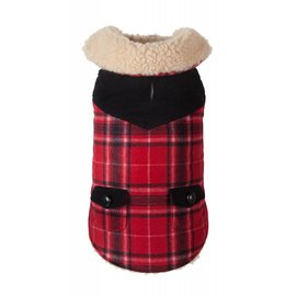 Fab Dog Fab Dog Wool Plaid Red Shearling Jackets