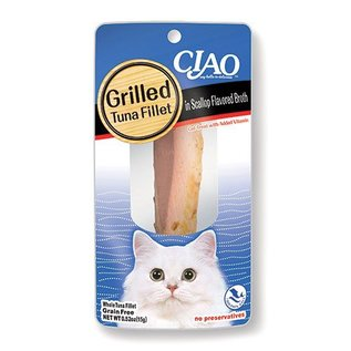 Ciao Ciao Grilled Tuna Fillet in Scallop Flavored Broth Cat Treat 0.5-Oz Package