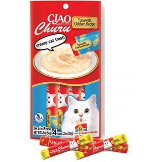 Ciao Ciao Churu Puree Tuna with Chicken Recipe Cat Treat 2-Oz, 4-Pack