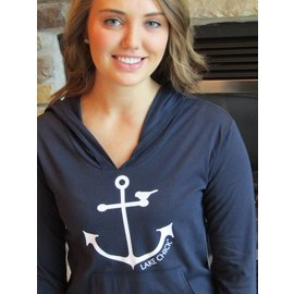 LAKE CHICK 2004LSS Anchor Chick High Low Long Sleeve Hoodie with Pouch