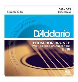 Daddario D'Addario EJ16 Phosphor Bronze, Light Acoustic Guitar Strings (12-53)