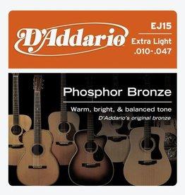 Daddario D'Addario EJ15 Phosphor Bronze Acoustic Guitar Strings, Extra Light, 10-47