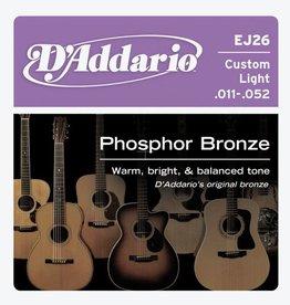 Daddario D'Addario EJ26 Phosphor Bronze, Custom Light Acoustic Guitar Strings (11-52)