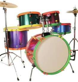 Excel Excel 5 Piece Jr. Drumset with 3 Piece Cymbal Pack, Multi-Color