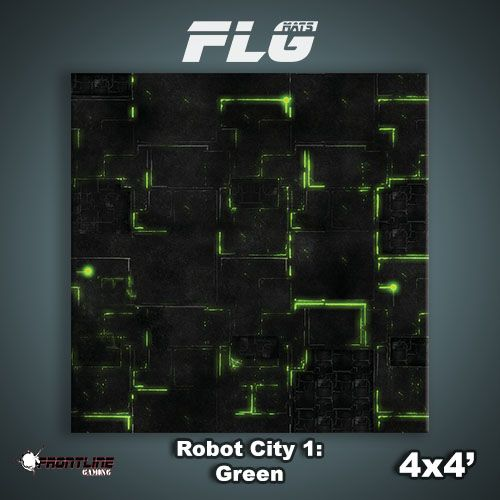 Frontline Gaming FLG Mats: Robot City 1: Green 4x4'