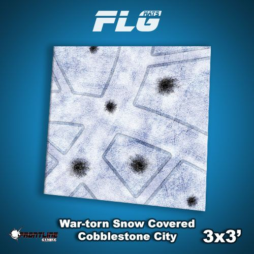 Frontline Gaming FLG Mats: War-torn Snow Covered Cobblestone City 1 3x3'