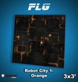 Frontline Gaming FLG Mats: Robot City 1: Orange 3x3'