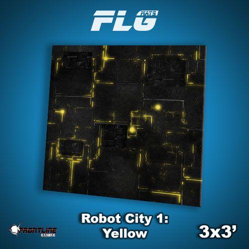 Frontline Gaming FLG Mats: Robot City 1: Yellow 3x3'