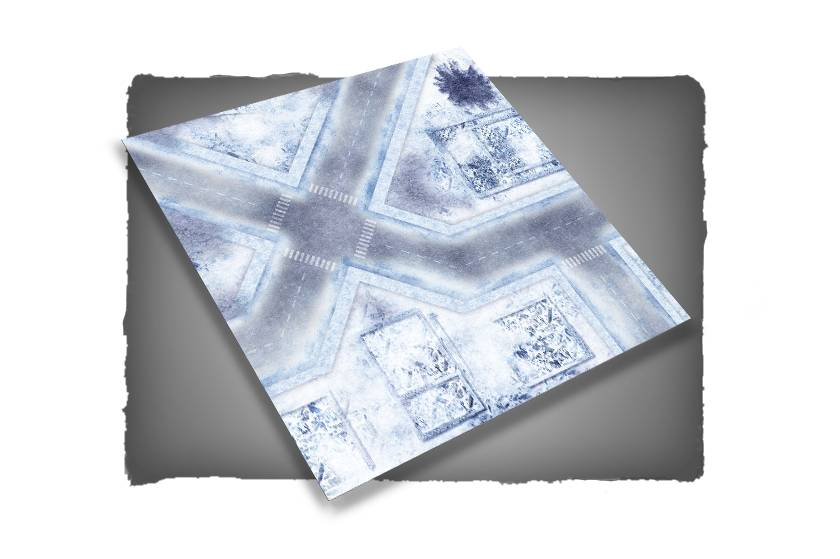 Frontline Gaming FLG Mats: War-torn Snow Covered City 1 3x3'