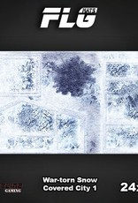 "Frontline Gaming FLG Mats: War-torn Snow Covered City 24"" x 14"""