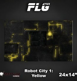 "Frontline Gaming FLG Mats: Robot City Yellow 24"" x 14"""