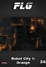"Frontline Gaming FLG Mats: Robot City Orange 24"" x 14"""