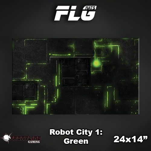 "Frontline Gaming FLG Mats: Robot City Green 24"" x 14"""