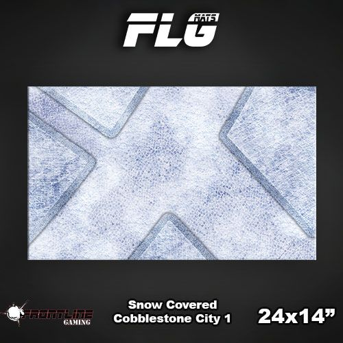 "Frontline Gaming FLG Mats: Snow Covered Cobblestone City 24"" x 14"""