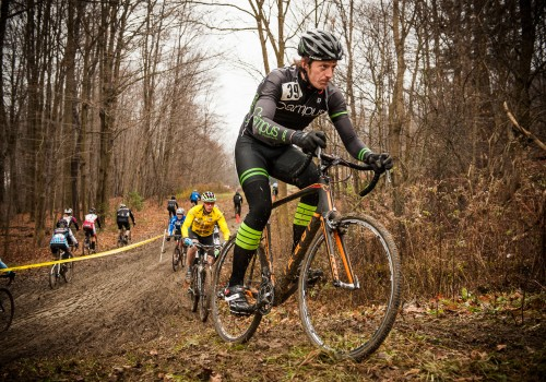 Ethan Johnson Racing in a cyclocross bike race in Buffalo, NY
