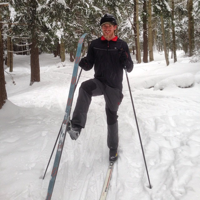 ethan showing off some cool cross country skis