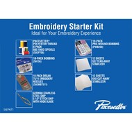 EMBROIDERY STARTER KIT contains: 1 Polyester thread 6-pack, 1 set embroidery needles, 1 (10 pack bobbins - SA156), 1 (10-Pack PWB250) Pre-Wound Bobbins, 9x7 Tearaway Stabilizer (12 sheets), 6x6 Cutaway stabilizer (12 sheets), 1 pair of German Stainless St
