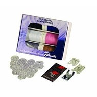 SEWING STARTER KIT contains: 1 XP Poly Core/Poly Wrap thread 6-pack (440 Yards), 1 set of universal needles, 1 (clear-view foot SA145), 1 (SA150 pearl and sequins foot), 1 (SA157 cording foot), 1 (10 pack bobbins -SA156). a $69.99 VALUE! Must be Ordered
