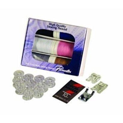 SEWING STARTER KIT contains: 1 XP Poly Core/Poly Wrap thread 6-pack (440 Yards), 1 set of universal needles, 1 (clear-view foot SA145), 1 (SA150 pearl and sequins foot), 1 (SA157 cording foot), 1 (10 pack bobbins -SA156). a $69.99 VALUE! Must be Ordered