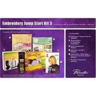 Embroidery Starter Kit 3 includes Quick Snap Magna Frame Set, Magna Quilter for Quick Snap, Embroidery Tool Kit, Perfect Placement Kit, Eileen Roche's Hoop and Go Kit CD for Brother, SAEP706 Pacesetter Embroidery Thread