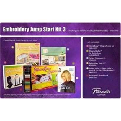Brother Embroidery Starter Kit 3 includes Quick Snap Magna Frame Set, Magna Quilter for Quick Snap, Embroidery Tool Kit, Perfect Placement Kit, Eileen Roche's Hoop and Go Kit CD for Brother, SAEP706 Pacesetter Embroidery Thread