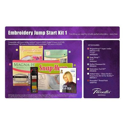 Embroidery Starter Kit 1 includes Snap Hoop 5 X 7, Magna Hoop Jumbo 6 X 10, Embroidery Tool Kit, Perfect Placement Kit, Eileen Roche's Hoop and Go Kit CD for Brother, SAEP706 Pacesetter Embroidery Thread
