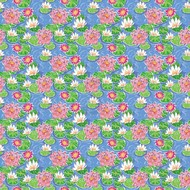 """Oracal 651 Patterned Adhesive Vinyl - Water Lilies Blue 12"""" x 12"""" sheet"""