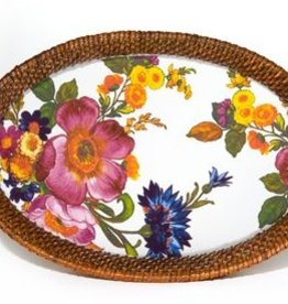MacKenzie-Childs Flower Market Small Rattan & Enamel Tray