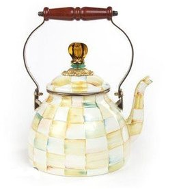 MacKenzie-Childs Parchment Check 2 Quart Tea Kettle
